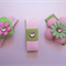 Baby Toddler Girl Set of 3 non slip hair clips ~ Baby Love ~ Pink n Green