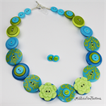 Lime Teal Damask Flowers - Button Necklace - Earrings - Jewellery