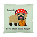 Dude!! Let's Shoot Some Hoops!! Bulldog Puppy Cushion Cover