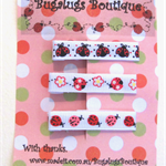 Set of 3 ladybug ribbon-covered hair clips