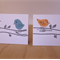 Set of 2 Birds on Branch Gift Cards Blue and Orange