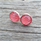 Glass dome stud earrings - red and white chevron