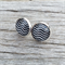 Glass dome stud earrings - black and white chevron