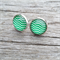 Glass dome stud earrings - Green and white chevron