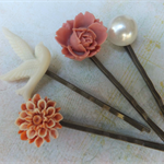 Orange and Pearl Vintage Style Hair Clips-4 hair clips