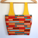 Linda Lunch Bag - Neon Tribal Arrows on Orange with Yellow handles