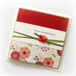 Happy Anniversary card love oriental floral red  Wife Husband