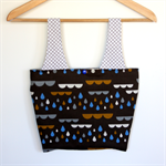 Linda Lunch / Shopping Bag - Rain Drops from clouds on Brown & polka dots