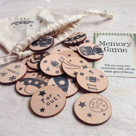 Wooden Memory Matching Game - Robots in Space Edition