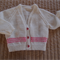 SIZE 2 (+) - Hand knitted cardigan in White and bright pink by CuddleCorner