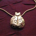 Ladybird - Handmade Sterling Silver Pendant with Snake Chain