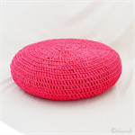 PINK CROCHETED RECYCLED TSHIRT COTTON OTTOMAN FOOT STOOL COVER ONLY