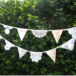 Vintage Shabby Chic Doily Lace & Fabric Flag Bunting. Wedding, Garden Party