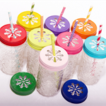 'Set of Four '- Quilted drinking jars with coloured lids- Made to order