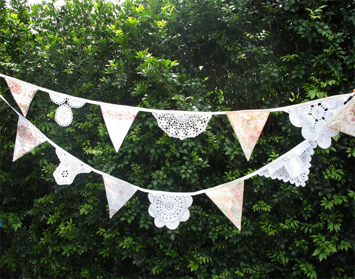 Vintage Shabby Chic Doily Lace U0026 Fabric Flag Bunting. Wedding, Garden Party