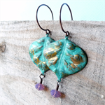 Antiqued Copper Vintage Inspired Verdigris and Swarovski Crystal Earrings