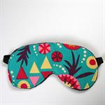 3 Layer Quilted Eye Mask - Sierra desert on bright aqua blue.