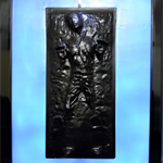 Han Solo in carbonite limited unique 3D wax painting sculpture,back lit with led