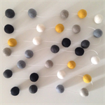 Felt Ball Garland in White, Mustard, Taupe, Grey, Off-Black, Black