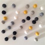 Felt Ball Garland in White, Mustard, Taupe, Grey, Off-Black, Black