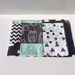 Baby Cot Patchwork Quilt w/ Aqua, Black & Grey Patterns