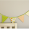 Green flower and orange Fabric bunting for Children's room or Birthday party