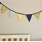 Navy blue and green flower Fabric bunting for Children's room or Birthday party