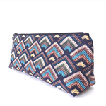 Aztec Makeup Zipper Pouch // Stationery Case / Pencil Case in Navy