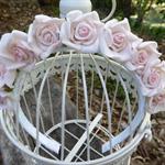 Warm Light Pink Roses on White Headband