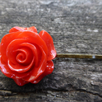 Red Rose on Antique Bronze Hairslide