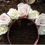 Pink (lt) and Cream Rose Headband