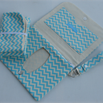 Blue and white chevron print clutch nappy wallet with matching change mat