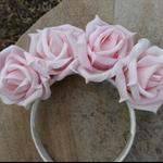 Pink Glittery Roses Headband