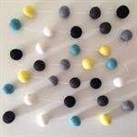 Felt Ball Garland in Mint, Black, Off-Black, Grey, Yellow & White