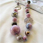 Porcelain Beaded Necklace  pastel pink & purple with Silver chain.FREE Earrings