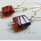 Argentium Sterling Silver range - red Czech glass bead earrings