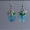 Blue Glass Coin Cluster Earrings 42mm