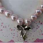Pink Glass Pearl Bracelet with Silver Bow