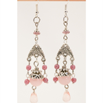 Chandelier earrings with soft pink tones and czech glass tear drop rose bead