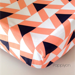 Fitted Cot / Crib sheet - Triangles Bright Coral / Peach / Apricot Navy White