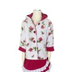 Raspberry, pink and white girls fleece jacket, coat.  Sizes 1-6