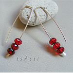 Argentium Sterling Silver range - bright red Czech glass bead earrings
