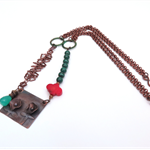 Poppy copper, malachite, red coral and green onyx chain necklace by Sasha + Max