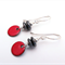 Discus red, metallic grey and sterling silver earrings