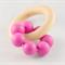 Wooden Silicone Teething Ring - Magenta