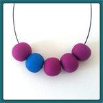 5 Bead Polymer Clay Necklace with Ball Chain and Choker - Fuchsia & Peacock