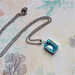 Necklace. Aqua Blue. Octagon Vintage Glass Jewel. Stainless Steel