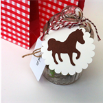 Pony Gift Tags in brown & white. Birthday party, horse theme, cowboy, cowgirl.