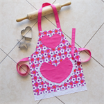 Kids Apron Daisy Chain pink - girls lined kitchen/craft/play/art - white flowers