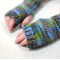 Children's fingerless gloves - camouflage blue / soft merino wool / 4-7 years